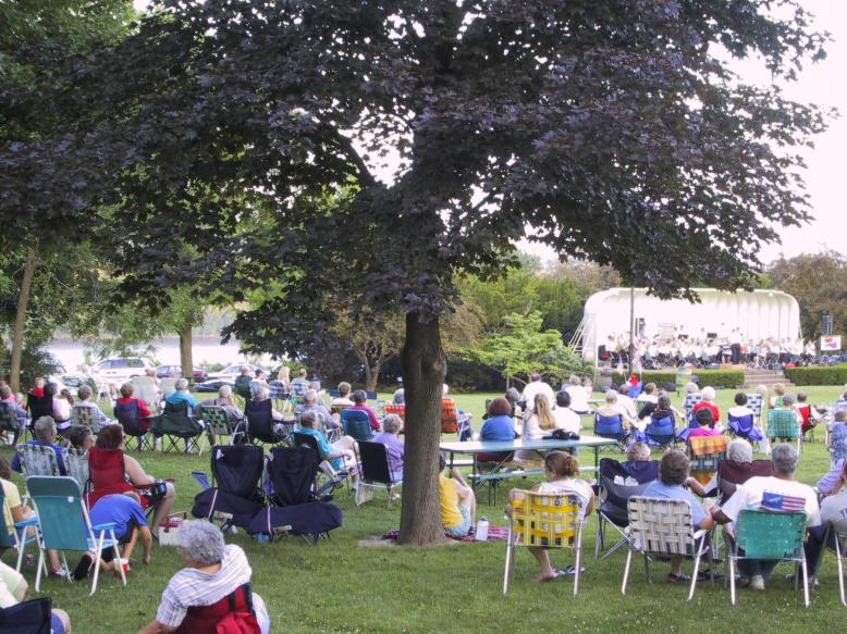 The audience enjoying one of our Sunday evening concerts in Crapo Park